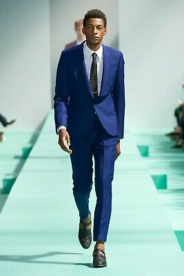 PAUL SMITH $1795 Blue Wool Handmade in Italy Two Button Suit 42R 52IT W36 L30