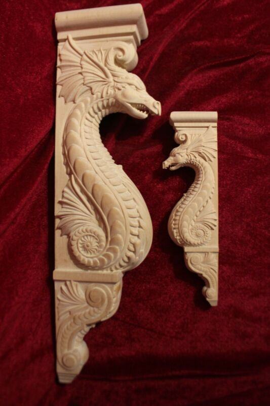 """Wooden Corbel/bracket Dragon. Wall Fireplace decor.  Carved from wood. 15"""" size"""