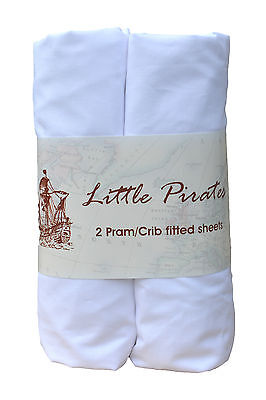 2 x Baby Pram/Crib Fitted Sheet 100% Cotton Luxury Percale White 40x90cm