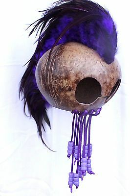 "Purple Ikaika Hawaiian Warrior Coconut Helmet ~ 3"" Coconut  # WR-0002 (Purple)"