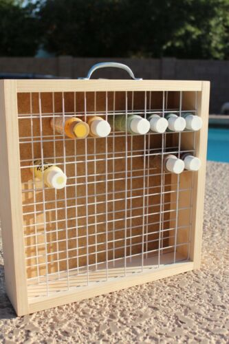 Paint Bottle Holder - Wall - Carrying Handle - Wood Paint Storage - Craft Paint