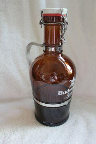 Vintage Budweiser Anheuser-Busch Amber 2-Liter Glass Aluminum Handle Growler