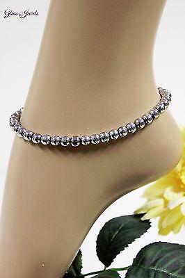 Glass Jewels Silber Fußkettchen Perlen Sommer Boho Hippie - Metallic Hippie Perlen