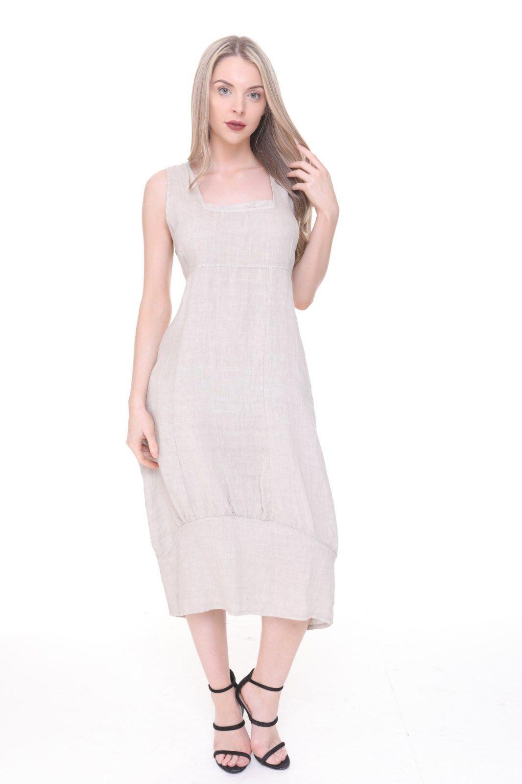 New Ladies Italian Lagenlook Quirky Square Neck Pocket Linen Plain Long Dress
