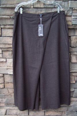 Eileen Fisher Gray Stretch Wool Wide Crop Pants – Sz L – NWT