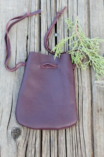 Burgundy leather drawstring pouch , Leather medicine bag , Leather crystal bag