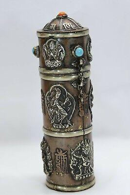 Antique Chinese Tibetan Buddhist Prayer Scroll Holder Mixed Metal Copper