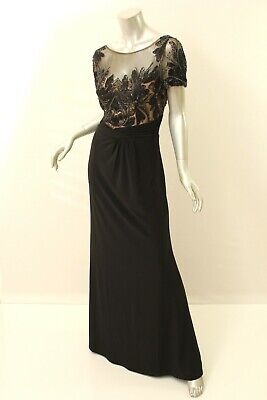 DAVID MEISTER Black Beaded Matte Jersey Gown 14 $650