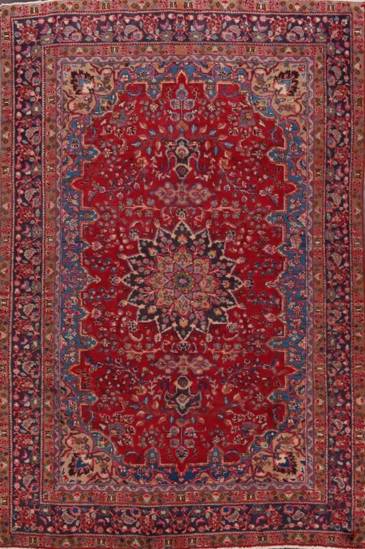 6x9 Vintage RED Traditional Geometric Area Rug Hand-knotted Wool Oriental Carpet