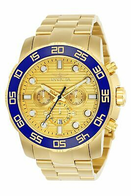 New Invicta Pro Diver 50MM Chrono 18K Gold Plated Gold Dial