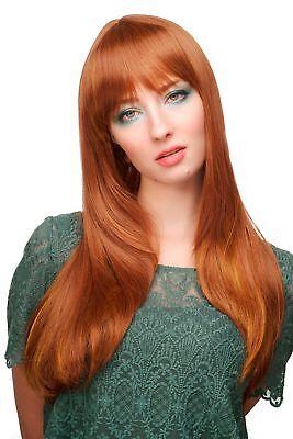 Damen Perücke mit Pony Rotbraun-Rot-Mix lang glatt ca. 60 cm 3115-30H144