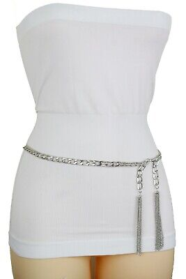 Women Hip Waist Silver Metal Chain Link Band Belt Luxury Ladies Stylish Size S M for sale  Shipping to India