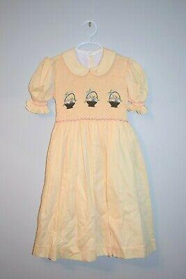 Girl Easter Baskets (NWT Spring Summer Yellow Easter Baskets Smocked Girl Dress)