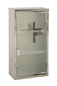 Wall Mounted Lockable 2 Keys Large Medicine Cabinet First Aid Box Glass Door