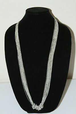 #210 Nordstrom Brand Silver Tone Multi Strand Long Necklace