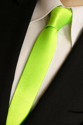 NEU - ausgefallene Satin Krawatte - neongrün - SlimFit - Skinny - Anlass - Party
