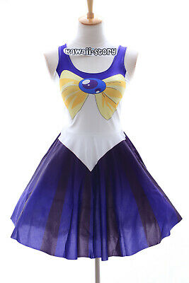 SK-08 Gr. S-M Sailor Moon Uranus blau Kleid dress Cosplay Manga Kostüm Anime