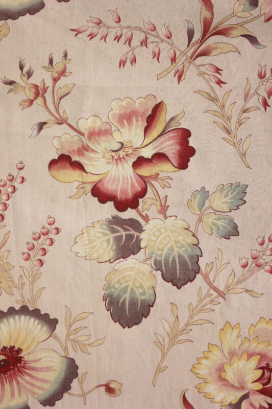 Fabric Vintage French large scale cotton curtain c1900 pink ground 2.83 yards