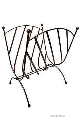 Oil Rubbed Bronze Metal Foldable Stand Magazine Holder Rack Bronze Metal Magazine Rack
