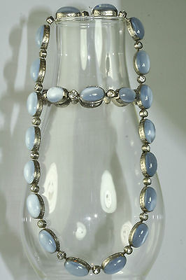 RARE ANTIQUE ART DECO BLUE MOONSTONE RHINESTONE GLASS NECKLACE BRACELET SET