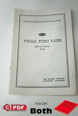 Bullard Special Drive Vertical Turret Lathe Operations Manual