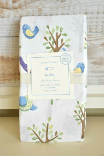 NEW Pottery Barn Kids HAYLEY Owl Fitted Crib Sheet Organic Cotton Birds Tree NWT