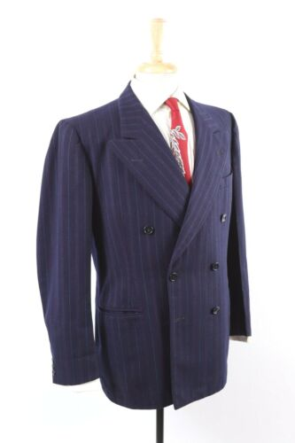 VTG 1940s Rockabilly Wool Pin Stripe Peak Lapel Double Breasted Suit USA Mens 42