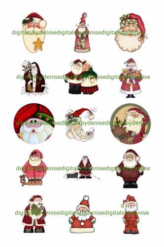 "CHRISTMAS SANTA A 1 "" CIRCLES  BOTTLE CAP IMAGES. $2.45-$5.50  **FREE SHIPPING**"