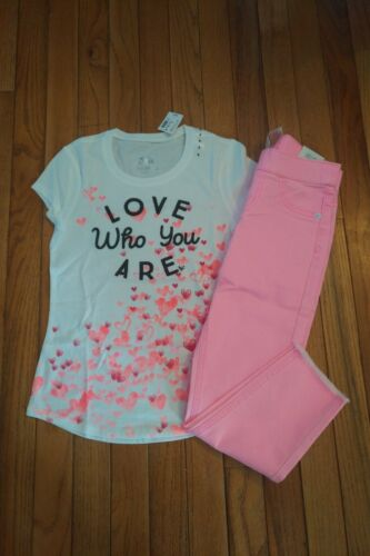 NWT Justice Girls Love Top/Pink Jeggings Size 7 slim 8 12