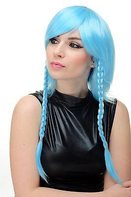 Perücke Cosplay Damenperücke hellblau blau kurz lange geflochtene Zöpfe YZF-7185