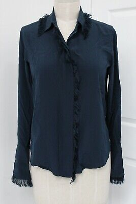 Chloe Black Navy 100% Silk Fringe Trim Blouse Size 36