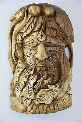 green man LARGE carved wooden plaque - tree spirit / celtic / wiccan carving