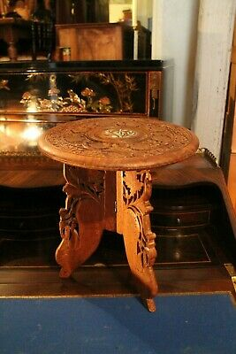 Small Table Pedestal Wooden Carved Inlay Mother-Of-Pearl Indo-Persian India