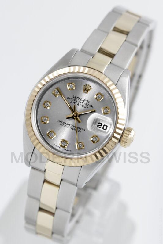 Rolex Ladies Datejust 18k Gold & Steel Silver Diamond Fluted Oyster Quickset