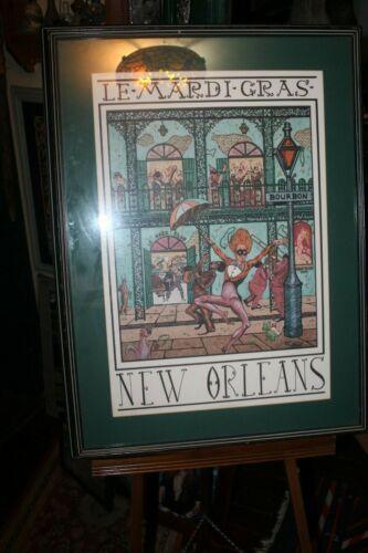 1991 Vintage Framed Le Mardi Gras New Orleans 22x30 G. Luttrell
