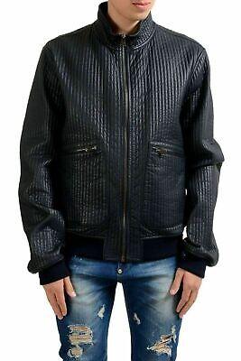 Dolce & Gabbana Leather Zip (Dolce & Gabbana Men's Navy Blue Full Zip Leather Jacket US 2XL IT 56 )