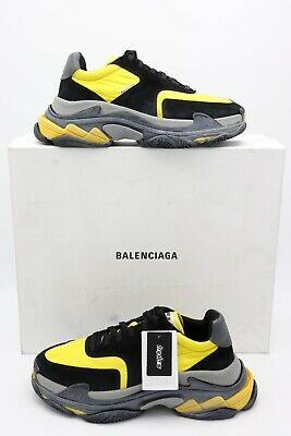 NIB Balenciaga Mens Triple S Black Yellow Trainers Sneakers Shoes 10 43 New