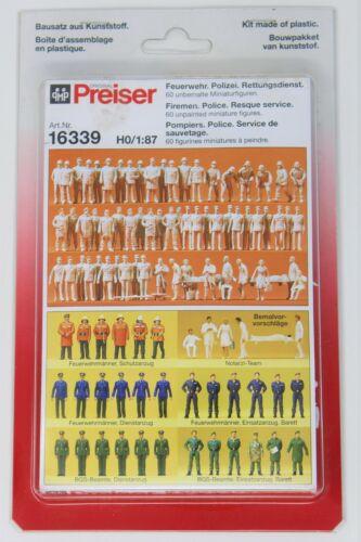 HO Scale Preiser #16339 Firemen/Police 60 Figures New In Box