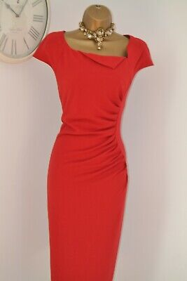 ~ L.K. BENNETT ~ Stunning Red Fitted Chic Dress Size 12 Work Office Business