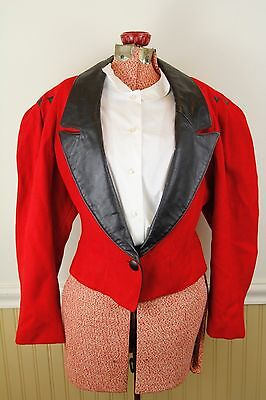 Vintage 80s Jonathan Stevens Womens Small Cropped Wool & Leather Tuxedo Jacket