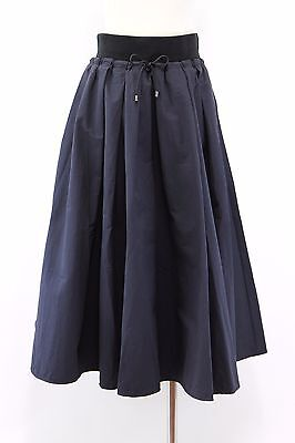 NWT$1395 Brunello Cucinelli Full Bodied Pleated Rib Band Drawstring Skirt 42/6US