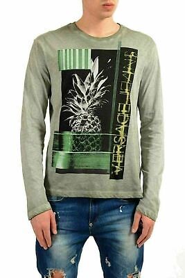 Versace Jeans Men's Faded Gray Graphic Long Sleeve T-Shirt US M IT 50