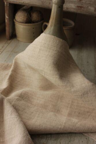Antique STRIATED linen homespun upholstery fabric BEAUTIFUL material c1900