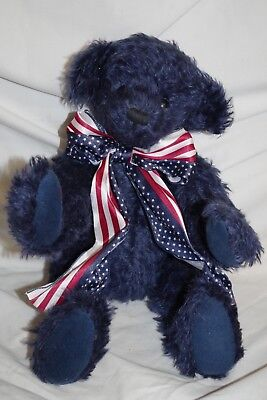 Libearty Bear (Knickerbocker Libearty Bear Blue Jointed 100% Mohair  # 4235 NWT)