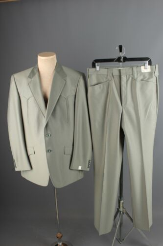 "Vtg NOS 70s Green Western Leisure Suit Sz XL Jacket 46 Long Pants 38"" Polyester"
