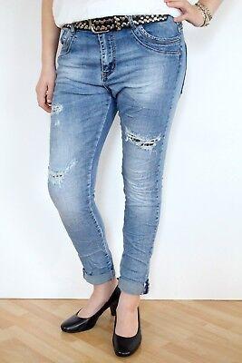 JEWELLY ★ BOYFRIEND BAGGY LEO DESTROYED KREMPEL JEANS HOSE BLAU 34 36 38 40 42 Destroyed Boyfriend-jeans