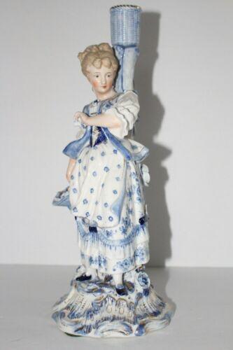 Antique Dresden Sitzendorf Germany Porcelain Candlestick Figurine