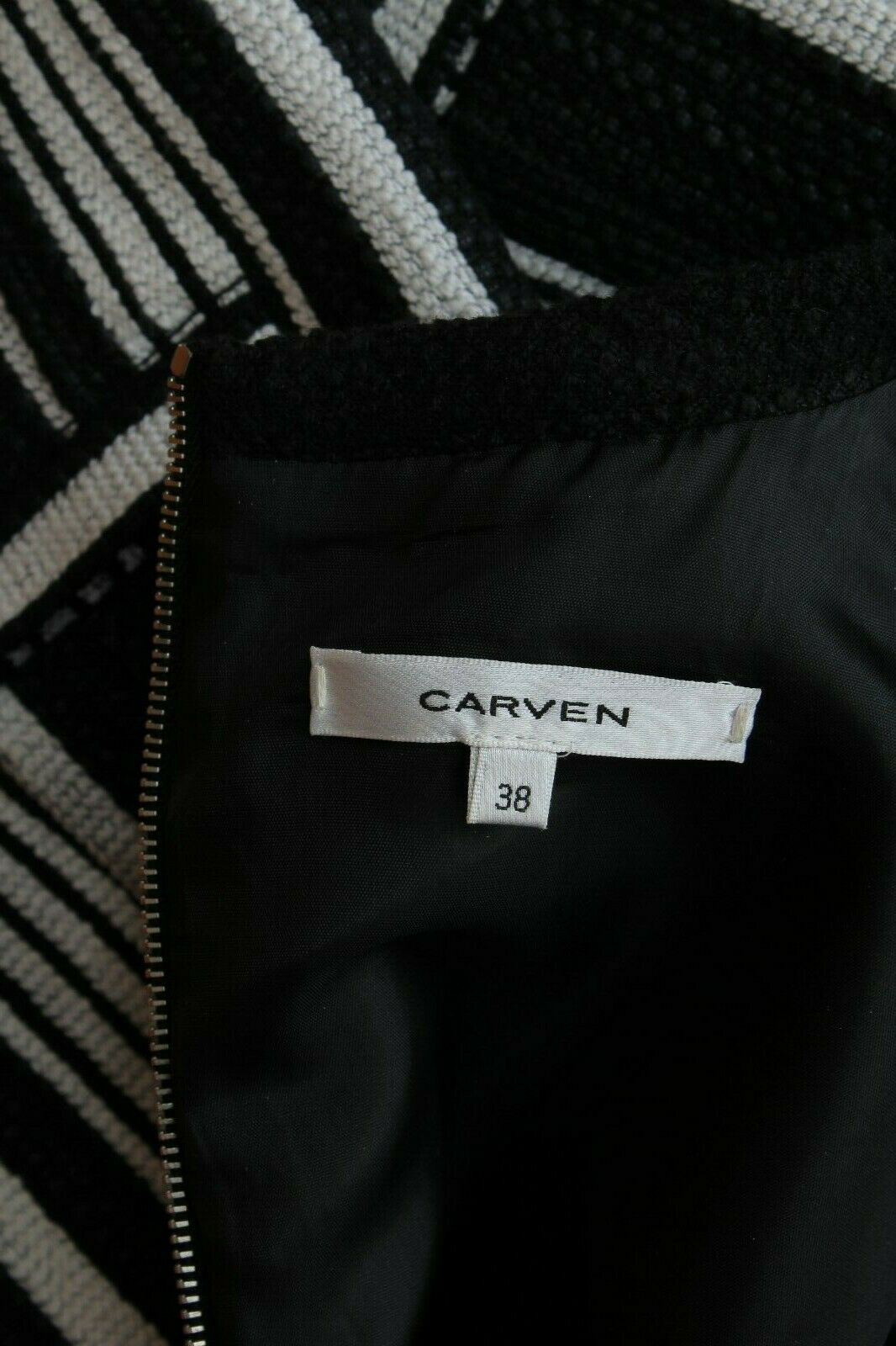 Carven déguisement rayé tissé tweed robe / noir,blanc / prix de vente recommandé
