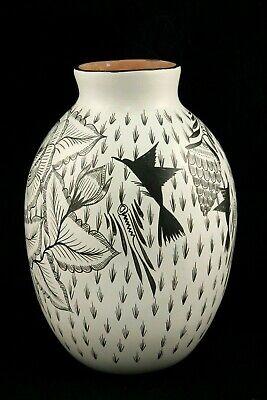 Ceramic Vase/Jar Mexican Folk Art Collectible Decor Handmade/Painted Blk/Wht #2