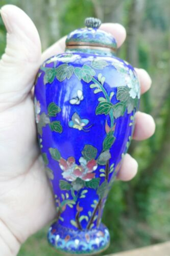 "Antique Meiji Period Japanese Cloisonné covered Urn 5.5"" Tall very fine work"